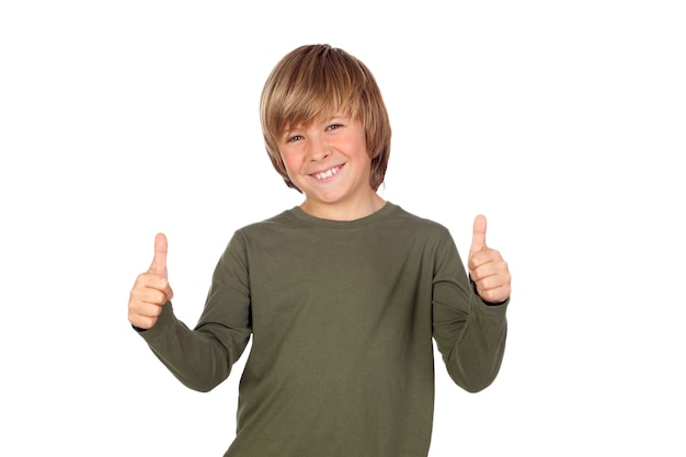 Adorable child saying ok isolated on a over white background