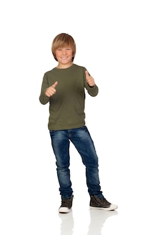 Adorable child saying ok on a over white background