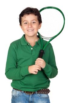 テニスのラケットを愛する子供は、上に白い