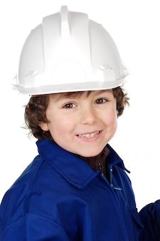 Adorable child with a helmet isolated on a over white background