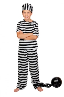 Adorable child with prisoner ball isolated on white background