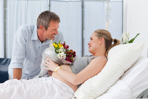 Adorable couple in a hospital room
