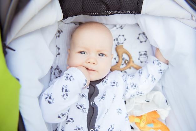 乳母車で横になっているかわいい赤ちゃん。ミディアムショット