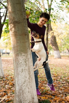 Adorable dog jumping in the park