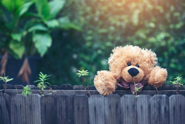 Adorable fluffy teddy bear in the park. vintage style.