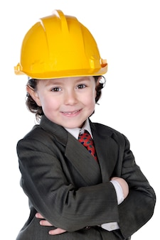 Adorable future architect over a white background