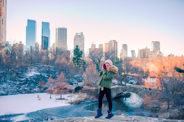 Adorable girl in central park at new york city