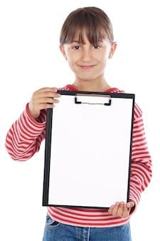 メモ帳と愛らしい女の子の学生 - あなたのテキストを置くことができます -
