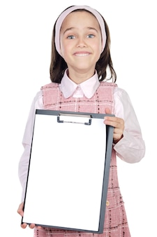 Adorable girl student with notepad