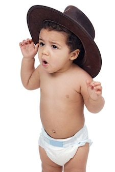 Adorable latin baby with a big hat