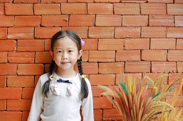 Adorable little asian child girl lean against the red brick wall with decorative grass flower.