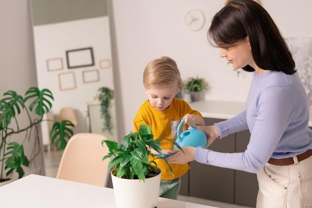 Очаровательный маленький ребенок помогает своей матери, стоя у стола и поливая одно из зеленых домашних растений в цветочном горшке дома