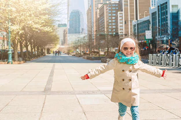 Adorable little girl in new york city