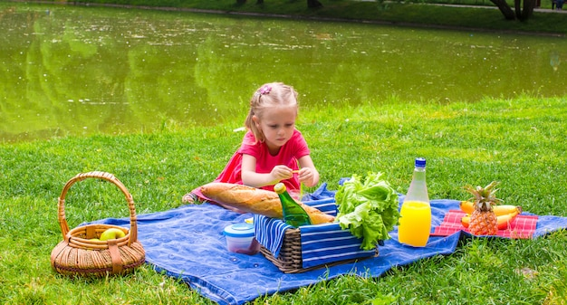 Adorable little girl on picnic outdoor near the lake