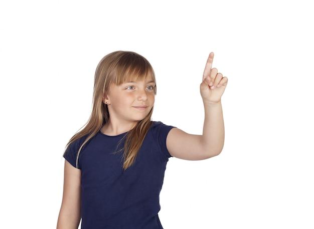 濃い青のtシャツのかわいい女の子