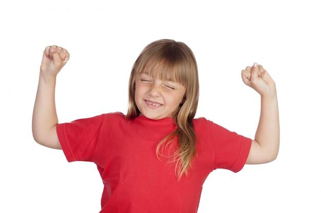 赤いtシャツのかわいい女の子