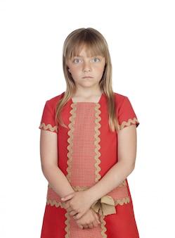 エレガントな赤いドレスのかわいい女の子