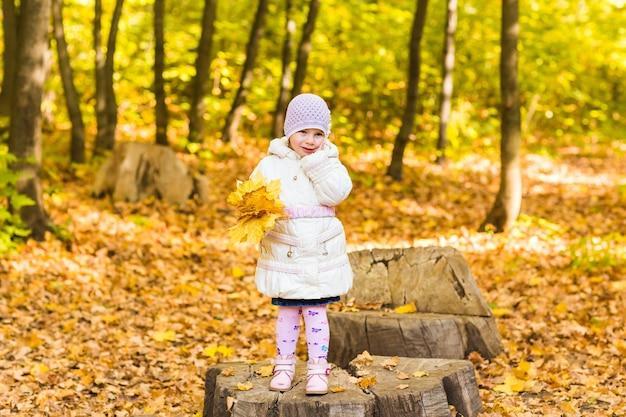 Очаровательная маленькая девочка с осенними листьями в парке