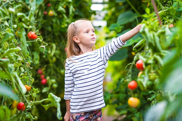 Adorable little girl with cucumbers and tomatoes in greenhouse