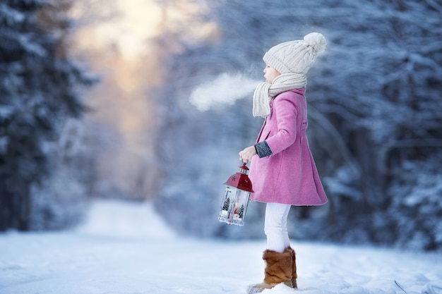 Adorable little girl with flashlight in frozen winter on christmas outdoors