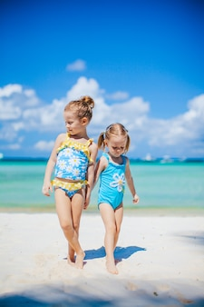 Adorable little girls having fun on the beach