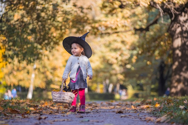 Adorable little toddler girl in autumn park girl in witch costume and black hat cosplay halloween