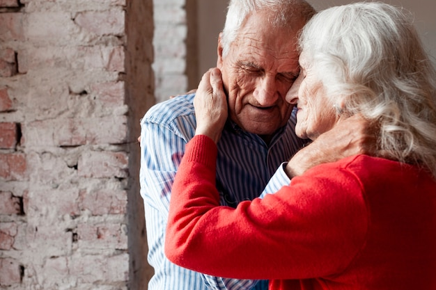 Adorable mature couple in love