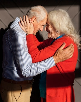 Adorable mature couple together in love