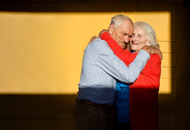 Adorable mature man and woman in love