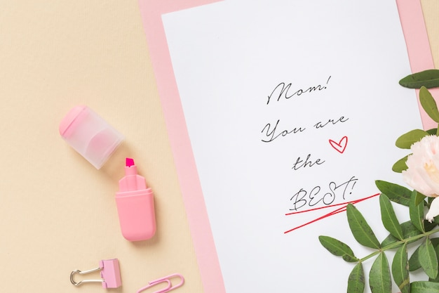 Adorable mother's day card top view