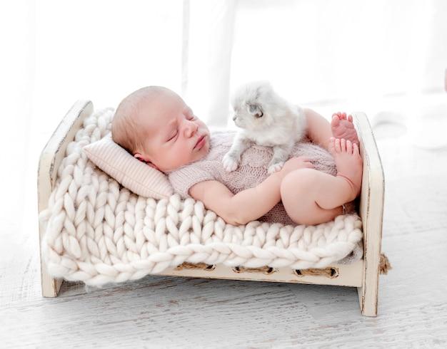 사랑스러운 갓난 아기는 작은 양식화된 침대에서 푹신한 새끼 고양이와 함께 자고 있습니다. 스튜디오 사진 촬영 중 키티 애완동물과 낮잠을 자는 니트 의상을 입은 귀여운 유아 아이