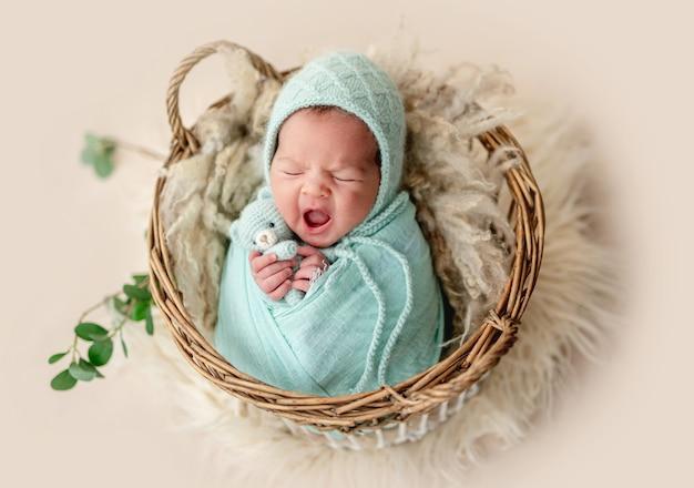 かごで休んでいる間愛らしい新生児あくび
