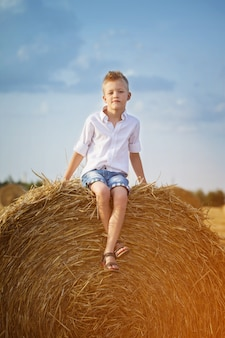 Adorable preschooler boy sitting on a haystack in wheat field on warm and sunny summer day