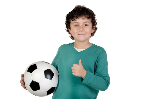 Adorable saying ok with a soccer ball isolated over white