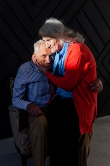 Adorable senior man and woman in love