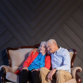 Adorable senior man and woman together