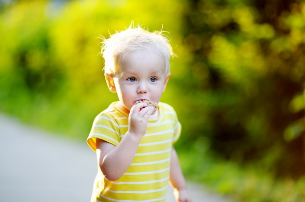 Adorable toddler boy eating piece of bread outdoors