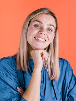 Adorable woman smiling medium shot