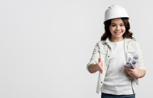 Adorable young girl posing with copy space