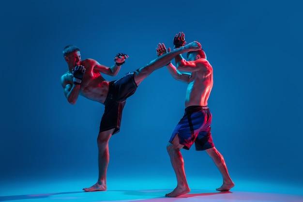 アドレナリン。 mma。ネオンの青いスタジオの背景に分離された2人のプロの戦闘機のパンチまたはボクシング。筋肉質の白人アスリートやボクサーの戦いにぴったりです。スポーツ、競争、人間の感情、広告。