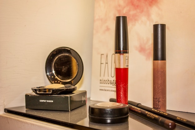 Adria, italy 25 march 2020: cosmetics on display at the hairdresser