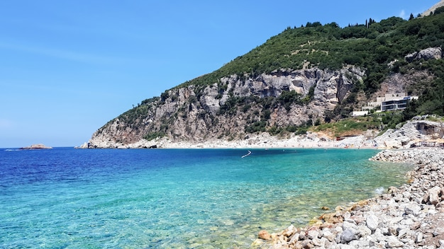 Adriatic sea coast in petrovac, montenegro