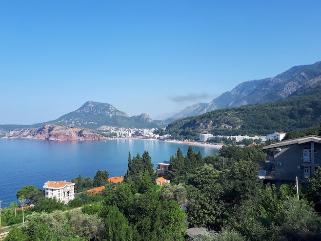 Adriatic sea coast in sutomore in montenegro