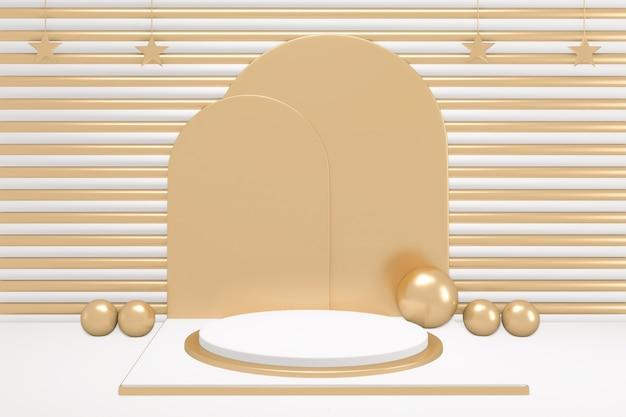 황금과 흰색 배경에 adstract 금색과 흰색 연단 최소한의 디자인 제품 장면. 3d 렌더링
