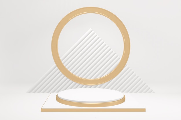 Adstract 금색과 흰색 연단 흰색 배경에 최소한의 디자인 제품 장면. 3d 렌더링