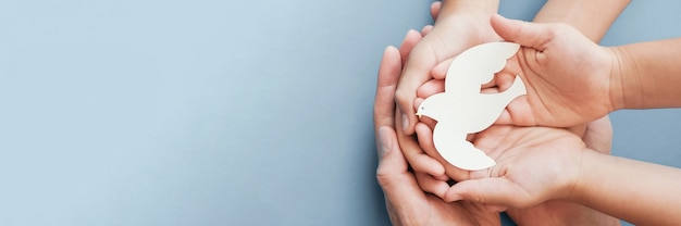 Взрослые и детские руки держат белый голубь