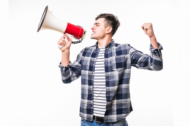 Adult blackhair man holds red with white megaphone and talk