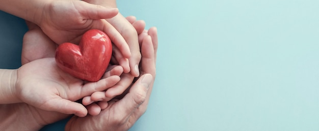 Adult and child hands holding red heart on aqua background