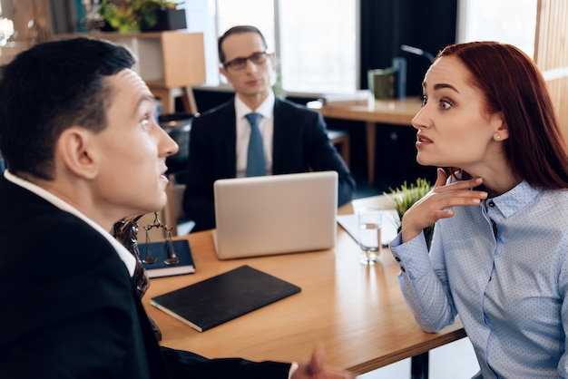 Adult couple gets divorced. office meeting