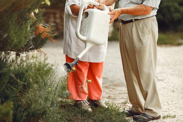 サマーガーデンの大人のカップル。白いシャツを着たハンサムな先輩。帽子をかぶった女性。家族の水やり。